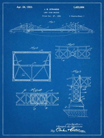 Golden Gate Bridge Patent, Long Span Bridge--Art Print