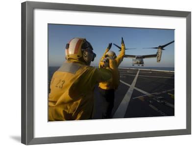 Aviation Boatswain's Mates Direct an MV-22 Osprey on the Flight Deck--Framed Photographic Print