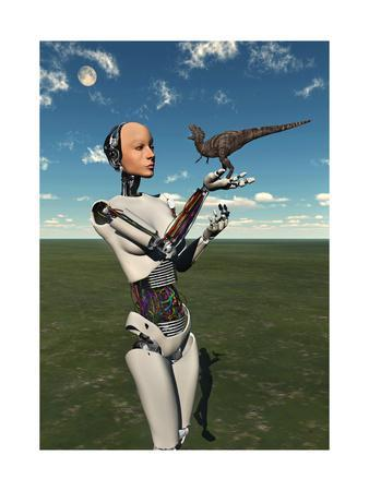 A Futuristic Android Holding a Baby Tyrannosaurus Rex in its Hands--Framed Art Print