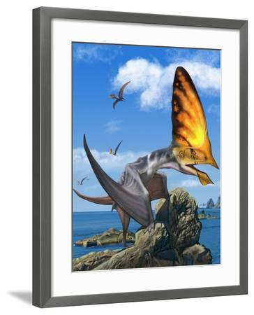 Tupandactylus Perched on a Rock During the Early Cretaceous Period--Framed Art Print