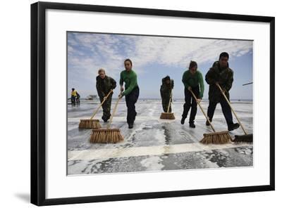 Sailors Scrub the Flight Deck of Aircraft Carrier USS Ronald Reagan--Framed Photographic Print