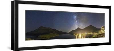 Panorama of Waterton Lakes National Park Overlooking the Townsite--Framed Photographic Print