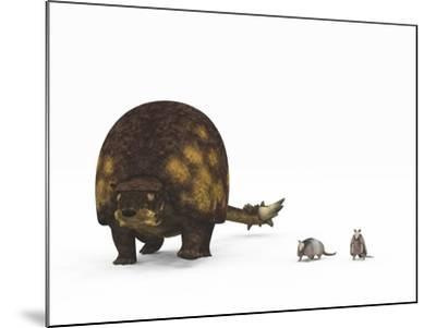 A Doedicurus Glyptodont Compared to Modern Armadillos--Mounted Art Print