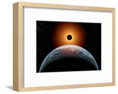 A Total Eclipse of the Sun as Seen from Being in Earth's Orbit--Framed Art Print