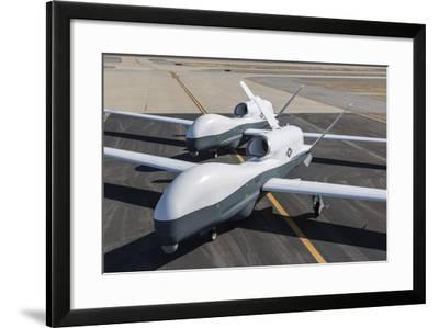 Two Mq-4C Triton Unmanned Aerial Vehicles on the Tarmac--Framed Photographic Print