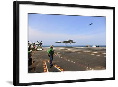 An X-47B Unmanned Combat Air System Makes an Arrested Landing--Framed Photographic Print