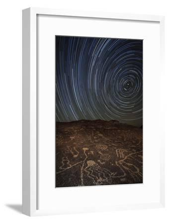 Star Trails at an Ancient Petroglyph Site Near Bishop, California--Framed Photographic Print