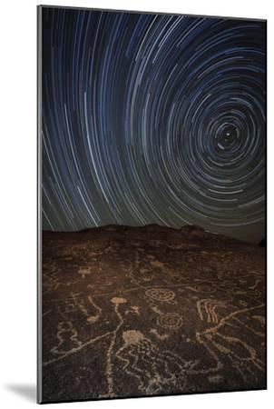 Star Trails at an Ancient Petroglyph Site Near Bishop, California--Mounted Photographic Print