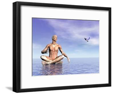 Male Musculature in Lotus Position While Looking at a Little Bird Flying--Framed Art Print
