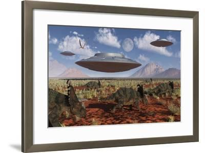 A Herd of Centrosaurus Dinosaurs Walk Past a Group of UFO'S--Framed Art Print