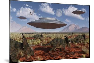 A Herd of Centrosaurus Dinosaurs Walk Past a Group of UFO'S--Mounted Art Print