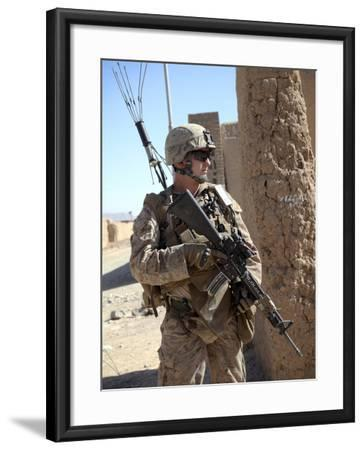 U.S. Marine Provides Security During a Vehicle Checkpoint--Framed Photographic Print