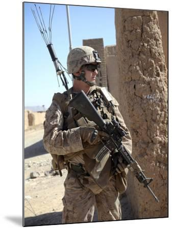 U.S. Marine Provides Security During a Vehicle Checkpoint--Mounted Photographic Print