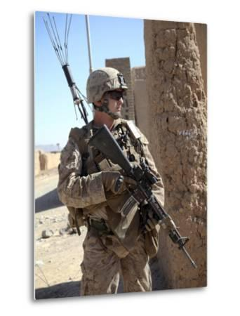 U.S. Marine Provides Security During a Vehicle Checkpoint--Metal Print