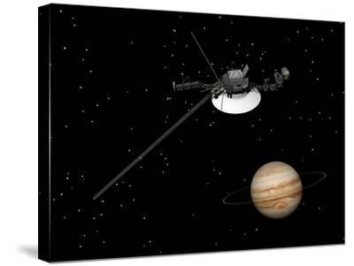 Voyager Spacecraft Near Jupiter and its Unrecognized Ring--Stretched Canvas Print