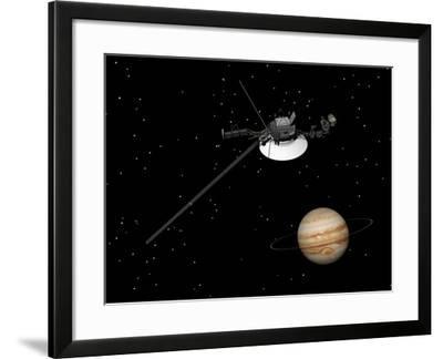 Voyager Spacecraft Near Jupiter and its Unrecognized Ring--Framed Art Print