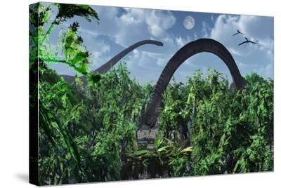 A Herd of Omeisaurus Sauropod Dinosaurs Grazing--Stretched Canvas Print