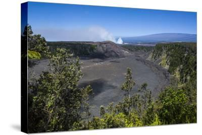Volcanic Crater before the Smoking Kilauea Summit Lava Lake in the Hawaii Volcanoes National Park-Michael Runkel-Stretched Canvas Print