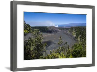 Volcanic Crater before the Smoking Kilauea Summit Lava Lake in the Hawaii Volcanoes National Park-Michael Runkel-Framed Photographic Print