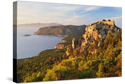 Monolithos Castle and Aegean Sea, Rhodes, Dodecanese, Greek Islands, Greece, Europe-Jochen Schlenker-Stretched Canvas Print