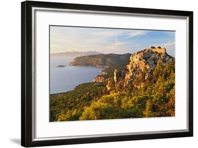 Monolithos Castle and Aegean Sea, Rhodes, Dodecanese, Greek Islands, Greece, Europe-Jochen Schlenker-Framed Photographic Print