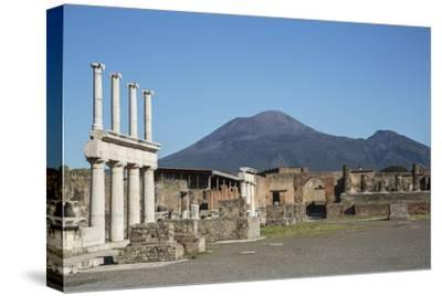 The Forum and Vesuvius Volcano, Pompeii, UNESCO World Heritage Site, Campania, Italy, Europe-Angelo Cavalli-Stretched Canvas Print