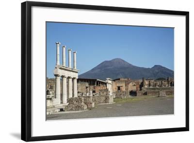 The Forum and Vesuvius Volcano, Pompeii, UNESCO World Heritage Site, Campania, Italy, Europe-Angelo Cavalli-Framed Photographic Print