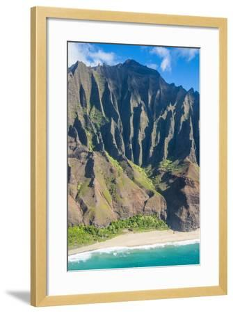 Aerial of the Rugged Napali Coast, Kauai, Hawaii, United States of America, Pacific-Michael Runkel-Framed Photographic Print