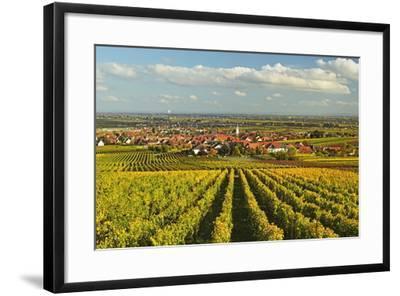 Vineyard Landscape and Maikammer Village, German Wine Route, Rhineland-Palatinate, Germany, Europe-Jochen Schlenker-Framed Photographic Print
