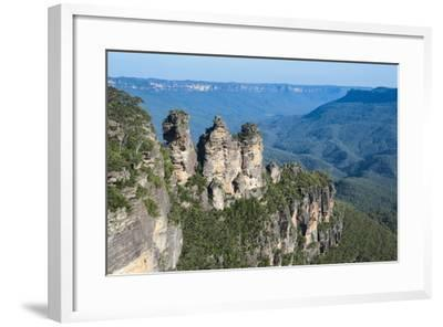 The Three Sisters and Rocky Sandstone Cliffs of the Blue Mountains-Michael Runkel-Framed Photographic Print