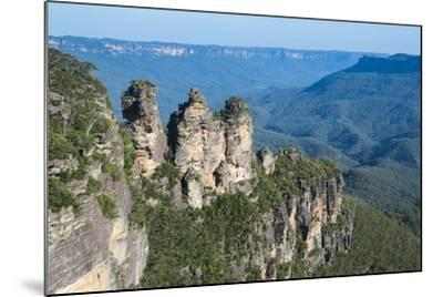 The Three Sisters and Rocky Sandstone Cliffs of the Blue Mountains-Michael Runkel-Mounted Photographic Print