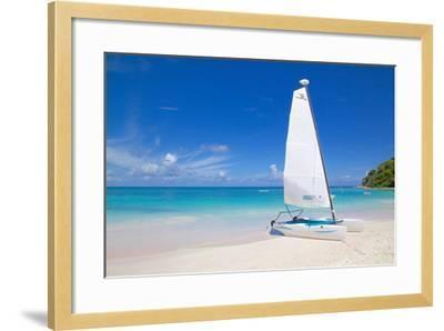 Beach and Hobie Cat, Long Bay, Antigua, Leeward Islands, West Indies, Caribbean, Central America-Frank Fell-Framed Photographic Print