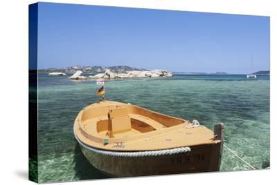 Boat at the Beach, Palau, Sardinia, Italy, Mediterranean, Europe-Markus Lange-Stretched Canvas Print