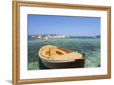 Boat at the Beach, Palau, Sardinia, Italy, Mediterranean, Europe-Markus Lange-Framed Photographic Print