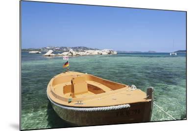Boat at the Beach, Palau, Sardinia, Italy, Mediterranean, Europe-Markus Lange-Mounted Photographic Print