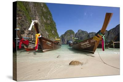 Maya Bay with Long-Tail Boats, Phi Phi Lay Island, Krabi Province, Thailand, Southeast Asia, Asia-Stuart Black-Stretched Canvas Print