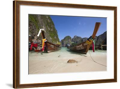Maya Bay with Long-Tail Boats, Phi Phi Lay Island, Krabi Province, Thailand, Southeast Asia, Asia-Stuart Black-Framed Photographic Print