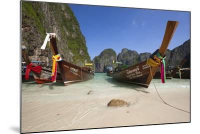 Maya Bay with Long-Tail Boats, Phi Phi Lay Island, Krabi Province, Thailand, Southeast Asia, Asia-Stuart Black-Mounted Photographic Print