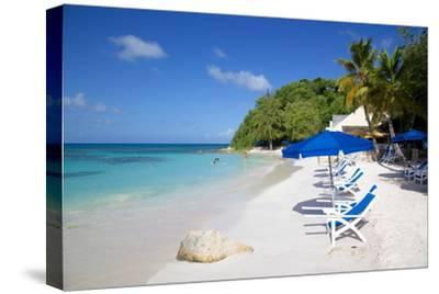 Beach and Sunshades, Long Bay, Antigua, Leeward Islands, West Indies, Caribbean, Central America-Frank Fell-Stretched Canvas Print