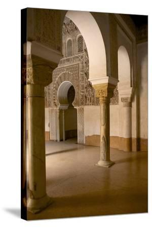 Intricate Islamic Design at Medersa Ben Youssef-Simon Montgomery-Stretched Canvas Print