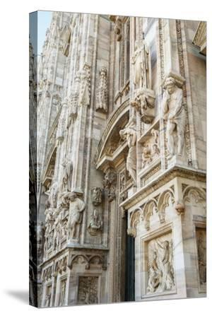 Detail of the Duomo (Cathedral), Milan, Lombardy, Italy, Europe-Yadid Levy-Stretched Canvas Print