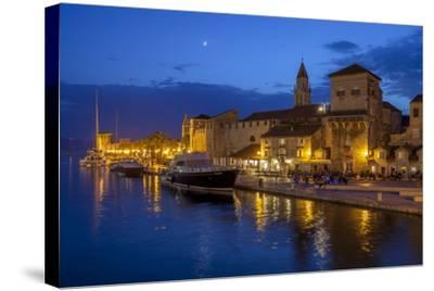 Waterfront Lit Up at Dusk, Trogir, UNESCO World Heritage Site, Dalmatian Coast, Croatia, Europe-John Miller-Stretched Canvas Print