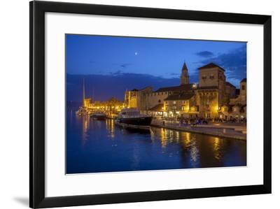 Waterfront Lit Up at Dusk, Trogir, UNESCO World Heritage Site, Dalmatian Coast, Croatia, Europe-John Miller-Framed Photographic Print