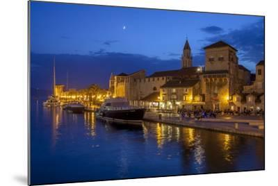 Waterfront Lit Up at Dusk, Trogir, UNESCO World Heritage Site, Dalmatian Coast, Croatia, Europe-John Miller-Mounted Photographic Print