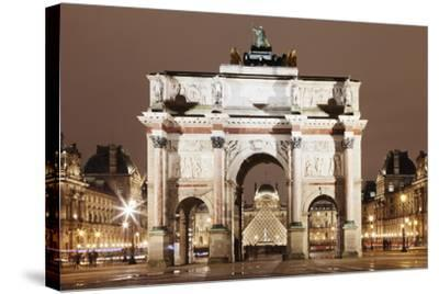 Illuminated Arc De Triomphe Du Carousel and Louvre Museum-Markus Lange-Stretched Canvas Print
