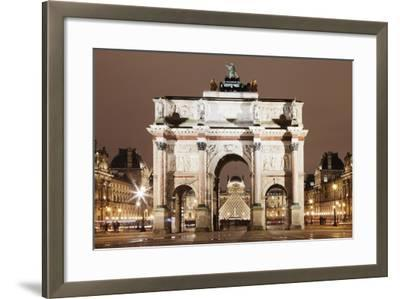 Illuminated Arc De Triomphe Du Carousel and Louvre Museum-Markus Lange-Framed Photographic Print