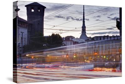 Traffic Rushes Through Piazza Castello, Turin, Piedmont, Italy, Europe-Julian Elliott-Stretched Canvas Print