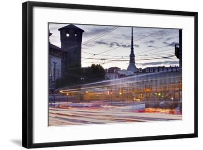 Traffic Rushes Through Piazza Castello, Turin, Piedmont, Italy, Europe-Julian Elliott-Framed Photographic Print