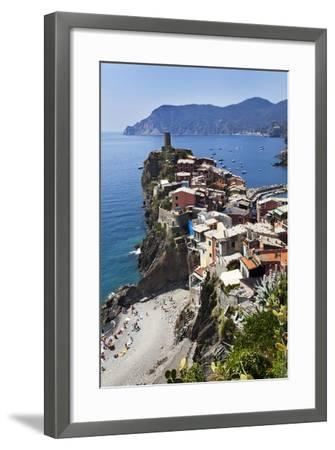 Vernazza from the Cinque Terre Coastal Path-Mark Sunderland-Framed Photographic Print