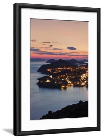 High Angle View of Dubrovnik at Sunset, UNESCO World Heritage Site, Dalmatia, Croatia, Europe-Markus Lange-Framed Photographic Print